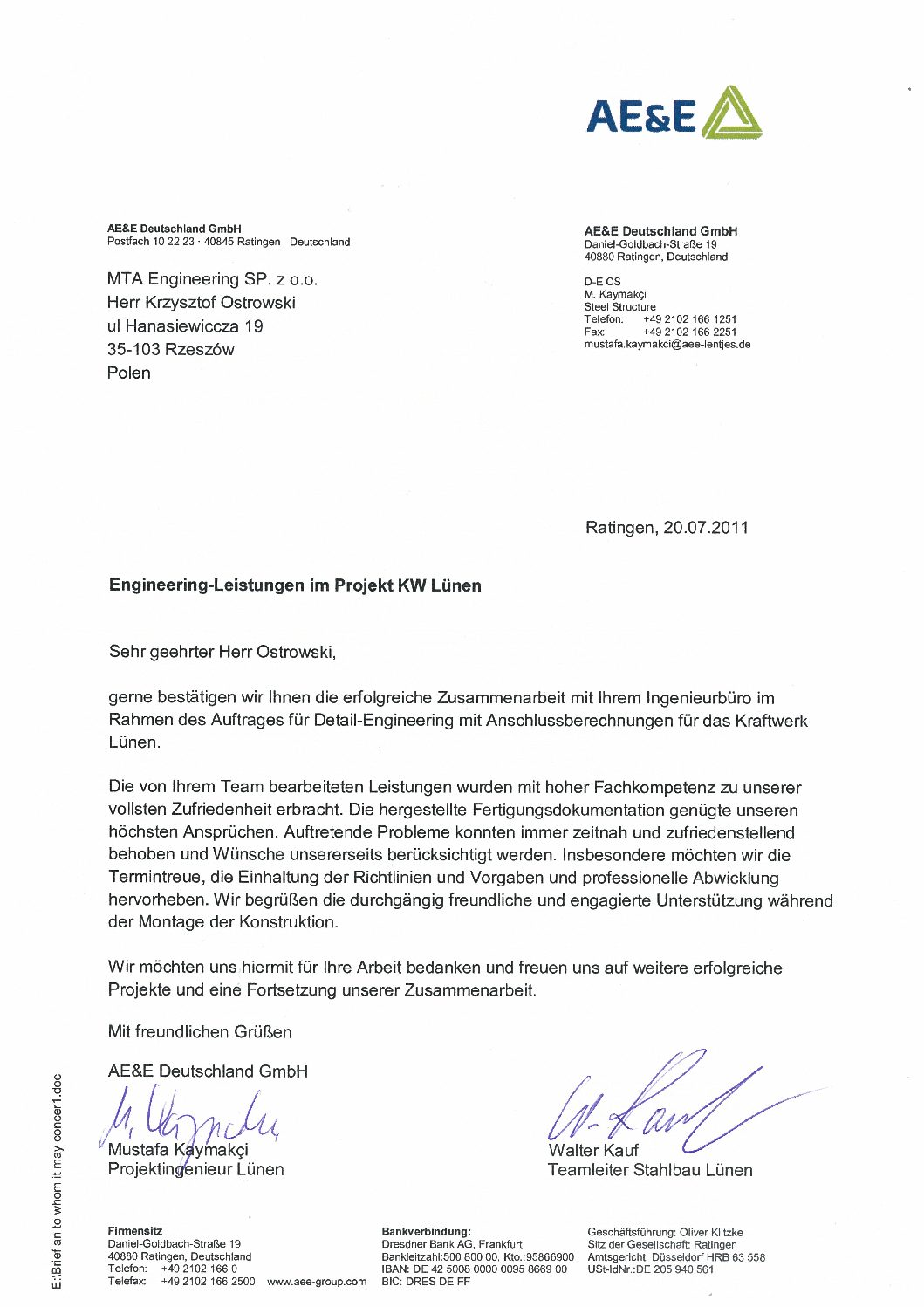 Reference letters - Biuro projektowe MTA Engineering Sp. z o.o.